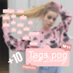 Tags +10 PNG - Pink Darling by Maguichu