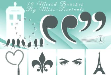 10 mixed brushes by Miss-deviantE