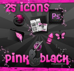 icons pink black .PNG and .ICO by Strawbeerry-16