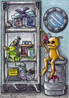 Space Monsters Cabinet ATC by emmadreamstar