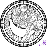 My Little Pony Dazzlings Coloring Pages. Equestria Girls Stained Glass Coloring Page by Akili Amethyst Sunset Shimmer on