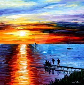 Fishing With Friends by Leonid Afremov by Leonidafremov