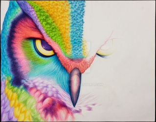 Birds of Pigment   Great-Horned Owl by abigaia