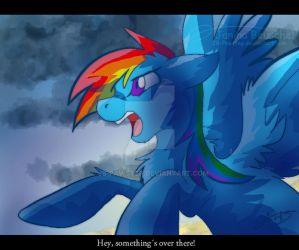 Rainbow Dash -Somethings above there! by JB-Pawstep