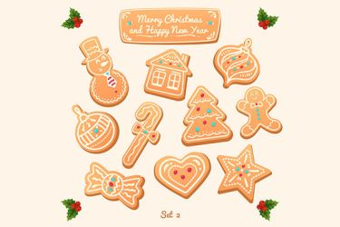 Big set of vector gingerbread cookies by krolone