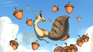 Happy Scrat by solangedrawing