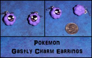 Pokemon Gastly Charm Earrings by YellerCrakka
