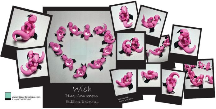 Wish - Pink Awareness Ribbon Dragons by lizzarddesigns