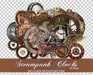 Steampunk Clocks 2 PNGs by Bellacrix