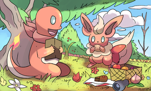 Commission PMD pokemon picnic by Phatmon