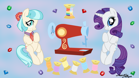 Rarity and Coco Wallpaper. by AgnessAngel
