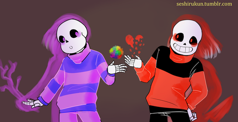 Frisk and Chara, Skeletale au version by atomicheartlight