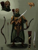 Mirkwood Elf Warrior Concept Art- colored by Atohas