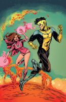 Invincible and Atom Eve by mysteryming