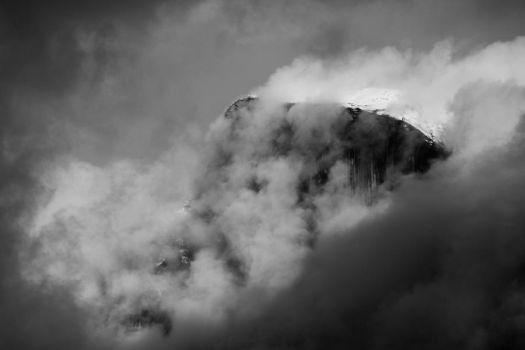 Half Dome in Mist by Blackdeathnonetheles