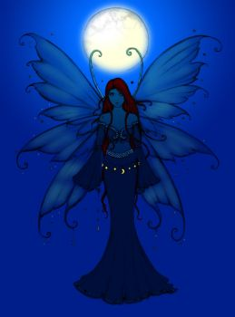 Daily Calm Coloring Contest: Fairy at Night by MutantPiratePrincess