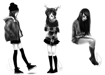 Black and White Art Dump by NeverSincerely