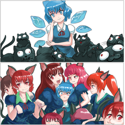 Cirno and a Mess of Hell Cats by ProfitShame