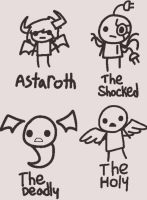 How the TBOI Sacred Rights characters would look by xRibbon-Candyx