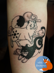 Sun Moon Cats Tattoo by NikkiFirestarter