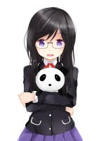 cute girl with panda by jmc5221
