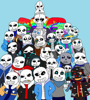 Many Sans AU Undertale by AshleyFluttershy