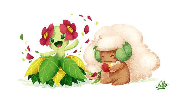 [Pokemon] Bellosson and Whimsicott by drawingum