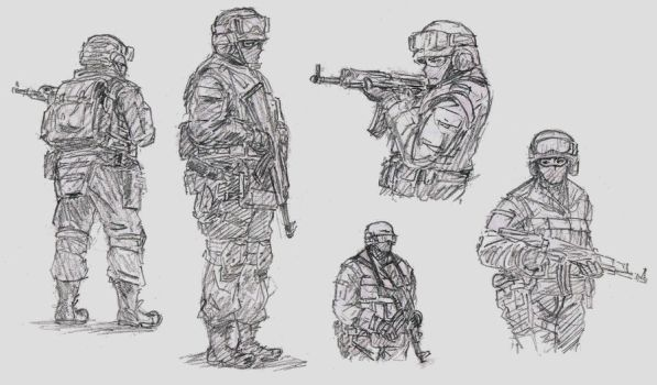 Soldier Sketches by TimSlorsky