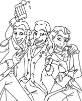 Merry Trio Line Art by MountainLygon