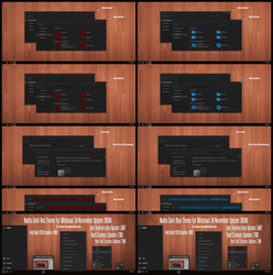 Nulito Dark Blue and Red Theme Win10 April 2018 by Cleodesktop