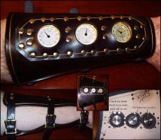 Cstm Steampunk Bracer Black by Steampunked-Out