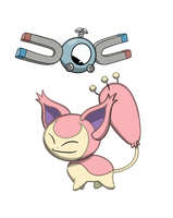 Magnemite and Skitty by Zeke6sic6