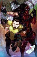 Deadpool, Negasonic and Colossus by emmshin