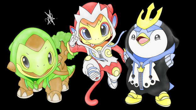 Sinnoh Region (Generation IV) Coloured - Starters by CauseLife