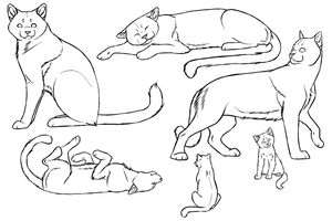 Free Cat Lineart - PAINT FRIENDLY by DikkeBobby