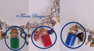 Green Red Blue Potion Charms ZELDA Custom made by TorresDesigns
