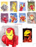 IRON MAN sketchcards by danielhdr
