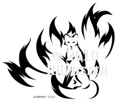 Kitsune Calligraphy by RHPotter
