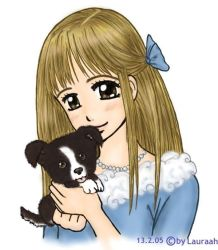-Girl with Puppy- by lacosta