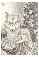The wolf and the girl by Wictorian-Art