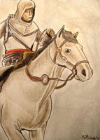 ACEO 46 - Altair and his horse by Clopina