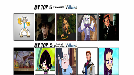 Top 5 Favorite and Least Favorite Villains by Toongirl18