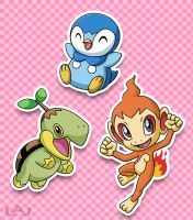 Sinnoh Starters by Red-Flare