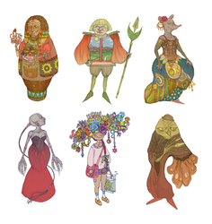 Colorful characters set by labirynt