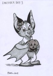 Inktober Day 3 - Candle Bat by Creative-Dreamr