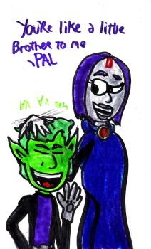 Beast Boy and Raven by SonicClone
