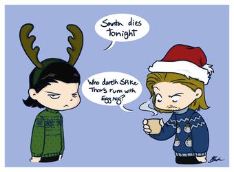 Loki and Thor's Family Christmas Card by caycowa