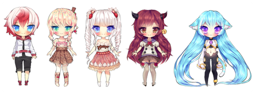 Chibi commissions by Pemiin
