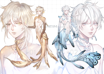 [ CLOSED ] Golden 'n Silver Blue Merman Adoptable by Beii-ac