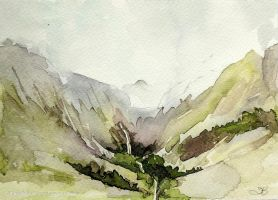 Glencoe Waterfall by tracybutlerart